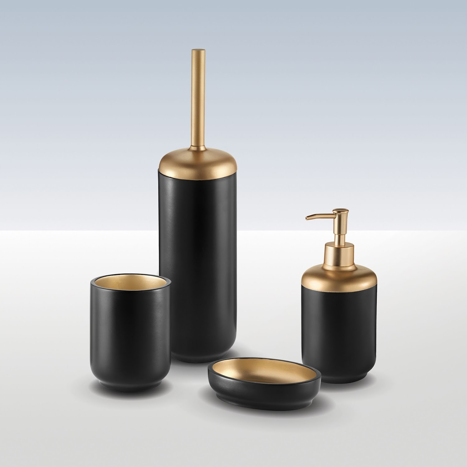 Details about Bathroom Freestanding 6 Piece Accessory Set Resin Black Gold  Durable