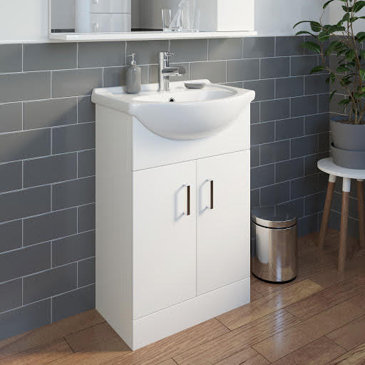 Essence White Gloss Bathroom Sink Cabinet 550mm Width