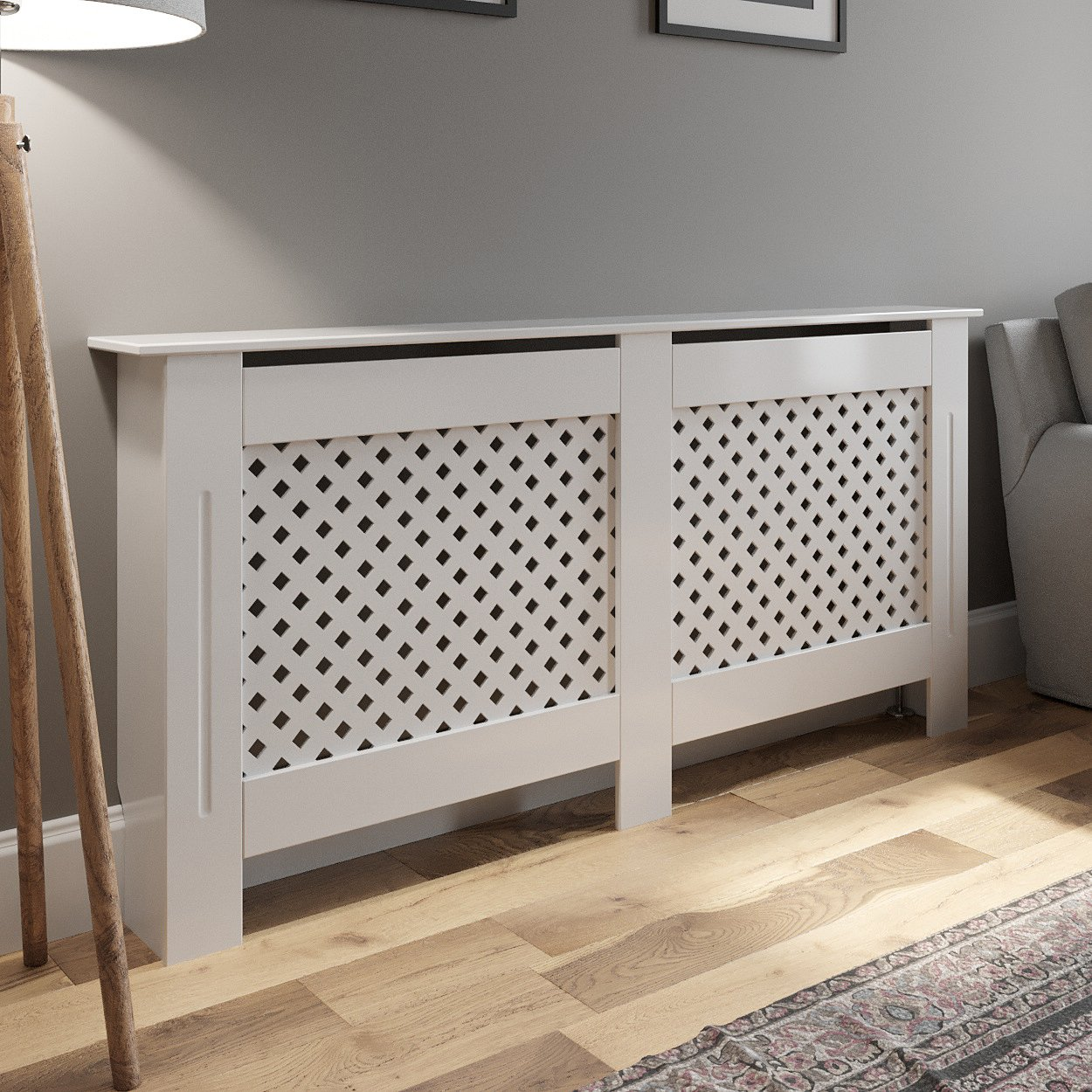 Radiator Cover Wall Cabinet Large Mdf Wood White Diamond Style Modern Furniture 5056093618030 Ebay