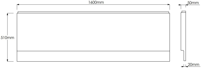 1600mm Modern Acrylic Side Front Bath Panel Gloss White Finish Essentials Range
