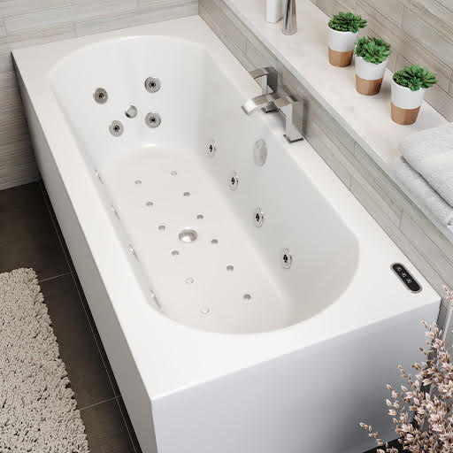 Vitura Double Ended Curved Airspa Whirlpool Bath With Chromotherapy LED Lighting and Ozonator - 1800 x 800mm