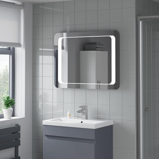 Hudson Reed Glamour LED Bathroom Mirror With Demister Modern IP44 700x500mm