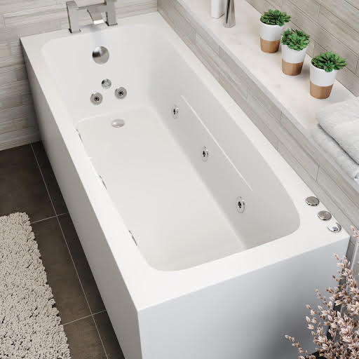 Vitura Single Ended Square Whirlpool Bath With 6 Standard Jets, 2 Back & Foot Jets and Chromotherapy LED Lighting - 1700 x 700mm