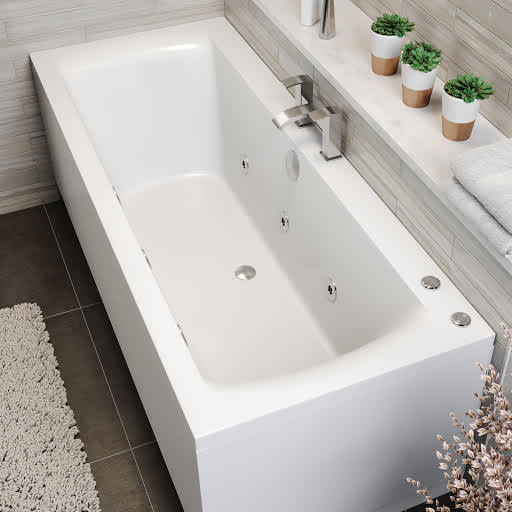 Vitura Double Ended Square Whirlpool Bath With 6 Standard Jets - 1800 x 800mm