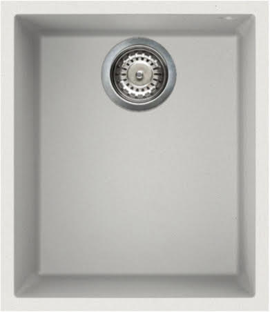 Reginox Elleci Quadra100 White Granite Undermount Single Bowl Kitchen Sink with Waste Included