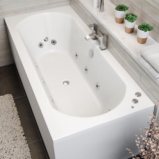 Vitura Double Ended Curved Whirlpool Bath With 6 Standard Jets, 2 Back & Foot Jets and Chromotherapy LED Lighting - 1800 x 800mm