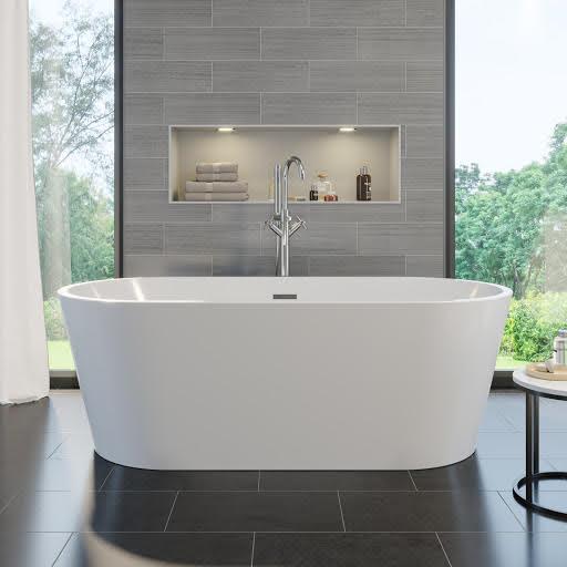 Affine 1500mm Bathroom Suite Single Ended Bath Toilet Vanity Unit Basin White Modern
