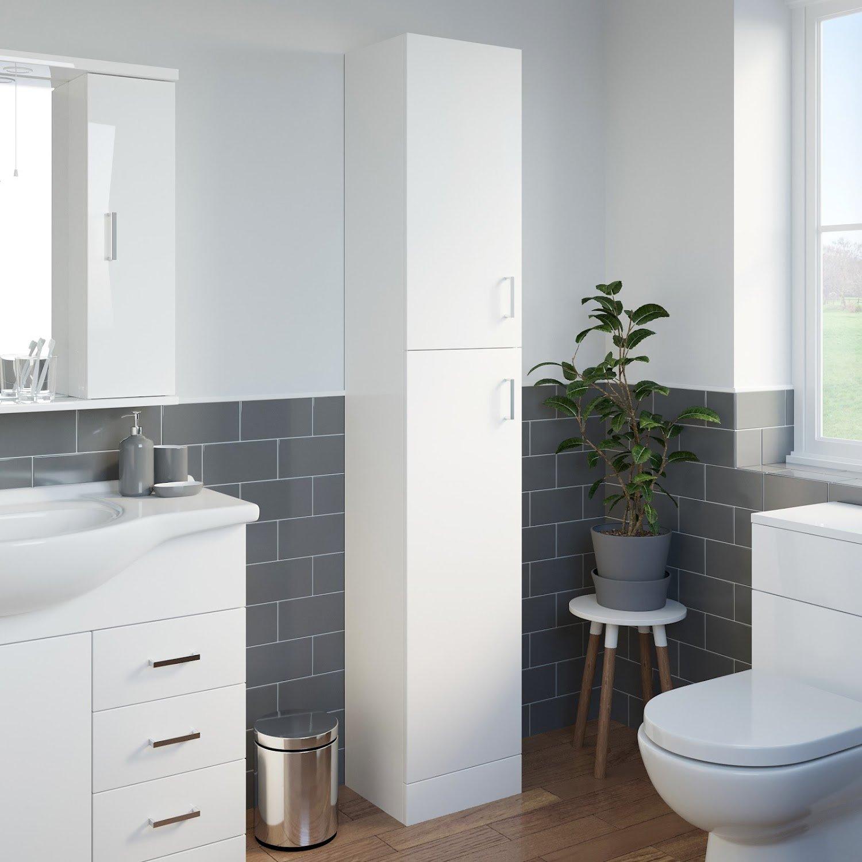 White Gloss Kitchen Cabinets Ebay: Bathroom Tall Cabinet Modern Furniture White Gloss Storage
