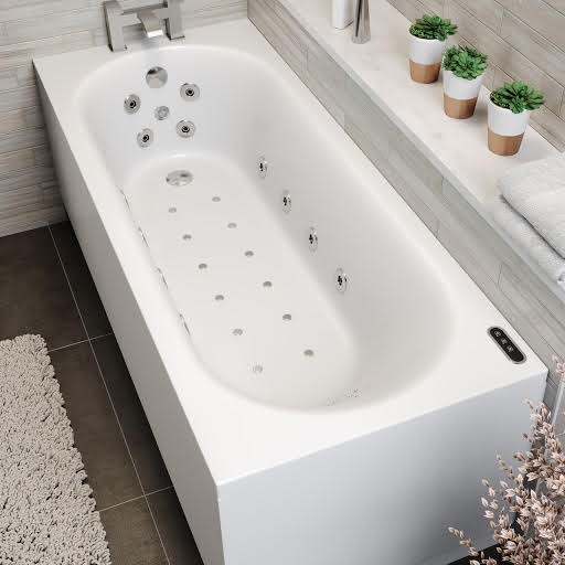 Vitura Single Ended Curved Airspa Whirlpool Bath With Chromotherapy LED Lighting and Ozonator  - 1700 x 700mm