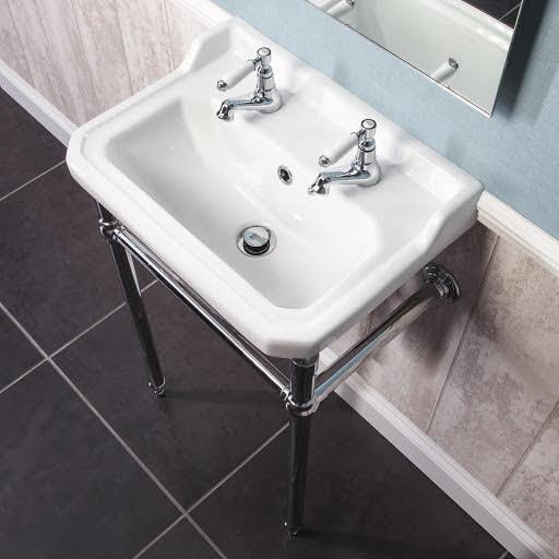 Park Lane Windsor 500mm 2 Tap Hole Bathroom Sink and Wash Stand