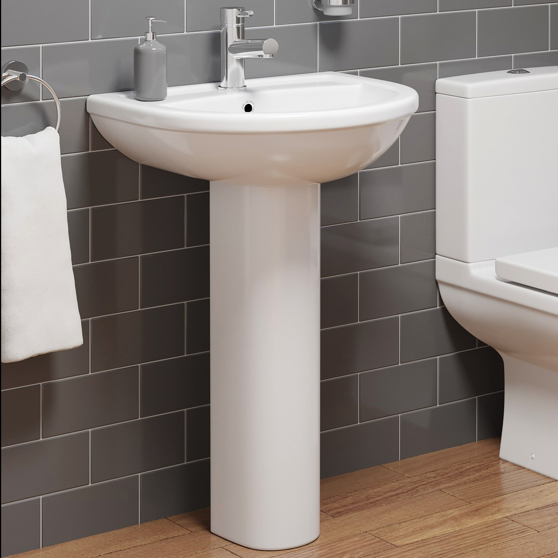 Bathroom Sinks Vanities 1 Tap Hole Modern Bathroom Square Or Round Ceramic Basin With Full Pedestal Bathroom Sinks