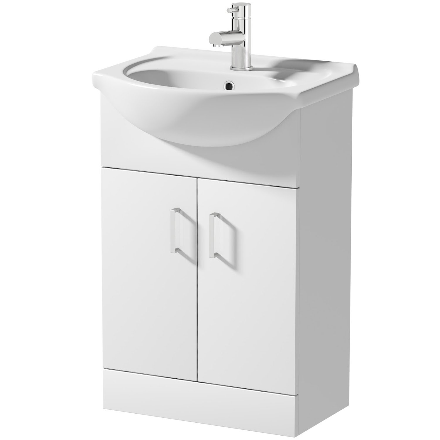 Plumbworld High Gloss White Vanity Unit 550mm Bathroom WC Cloakroom