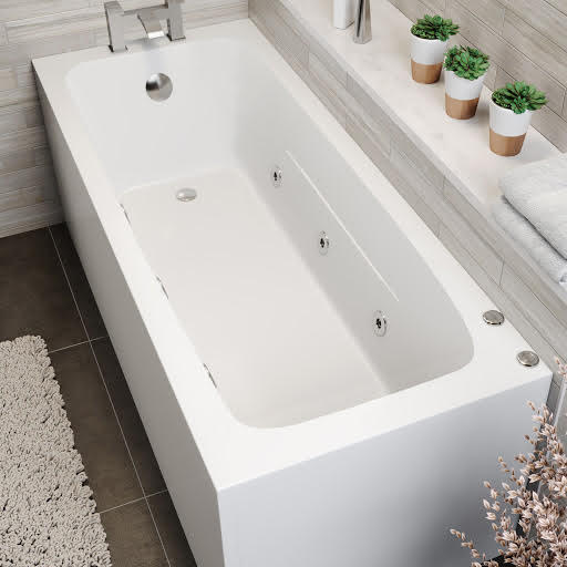 Vitura Single Ended Square Whirlpool Bath With 6 Standard Jets - 1700 x 700mm