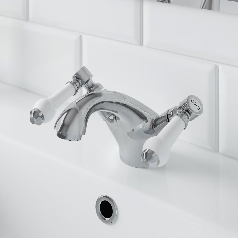 Traditional Bathroom Monobloc Basin Sink Mixer Tap Chrome Ceramic Lever Handles Ebay