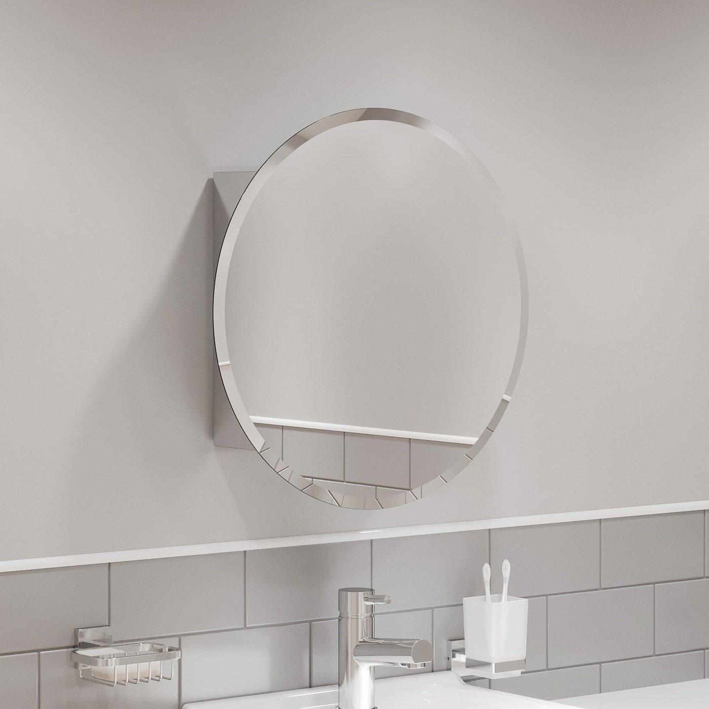 Round Door Bathroom Mirror Cabinet Cupboard Stainless Steel Wall Mounted 500mm Ebay