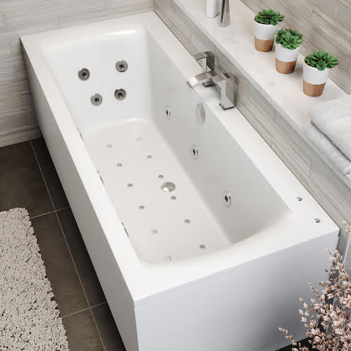 Vitura Double Ended Square Airspa Whirlpool Bath - 1700 x 750mm