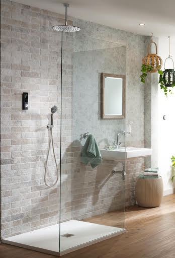 HOME Thermostatic Digital Shower 2 Outlet- Ceiling Fixed Head- Wall Holder- Circular (Gravity Fed / Pumped)