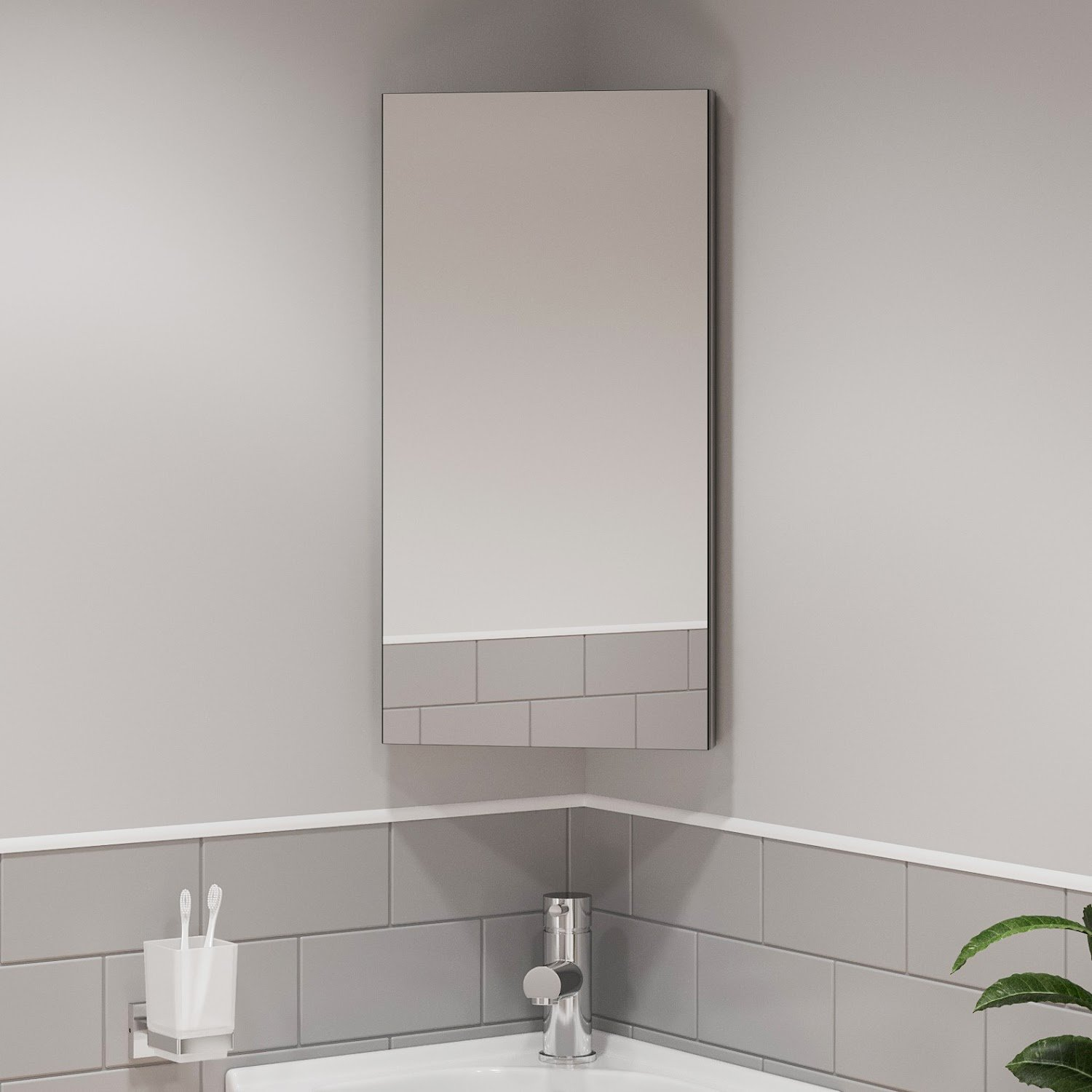 Single Door Corner Bathroom Mirror Cabinet Cupboard Stainless Steel Wall Mounted Ebay