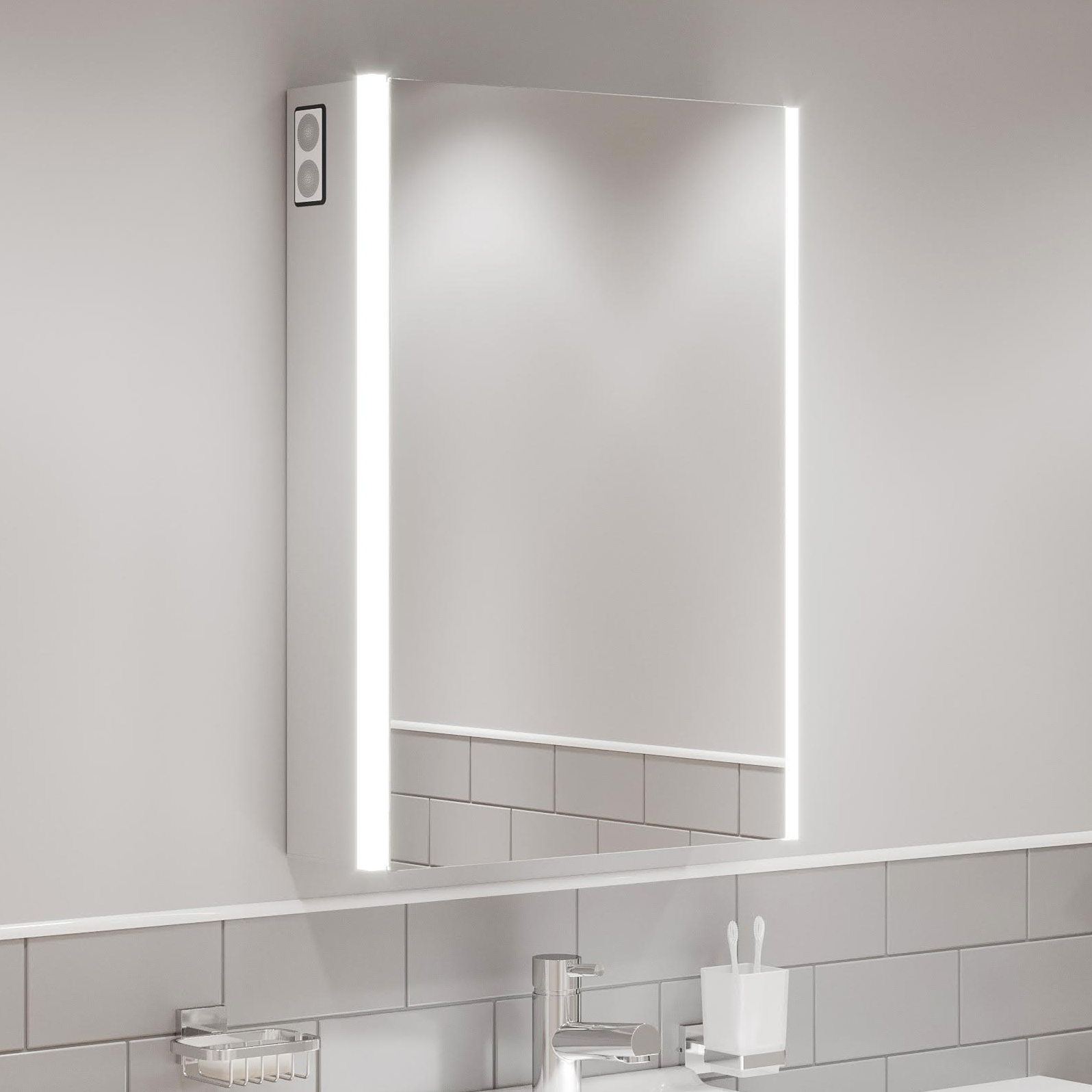 Bathroom Led Mirror Cabinet Shaver Socket Bluetooth Speakers Ip44 700 X 500mm Ebay